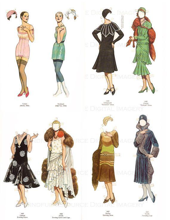 Flapper 1920s Fashion Paper Dolls Printable Vintage Dolls Art Deco ...