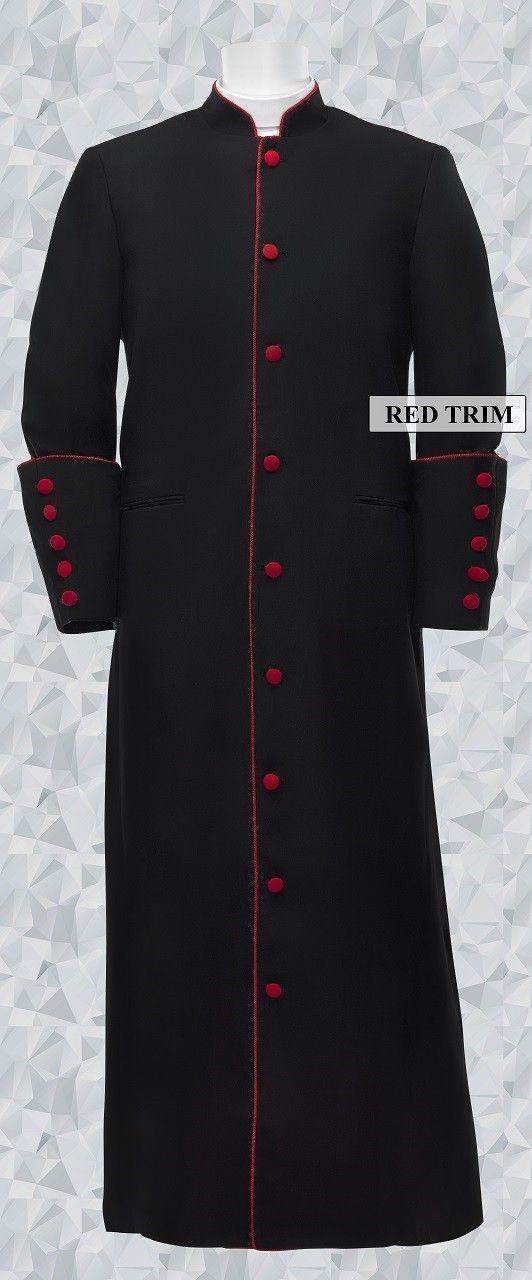 679f0093a4 153 M. Men s Clergy Pastor Robe Black Red Trim