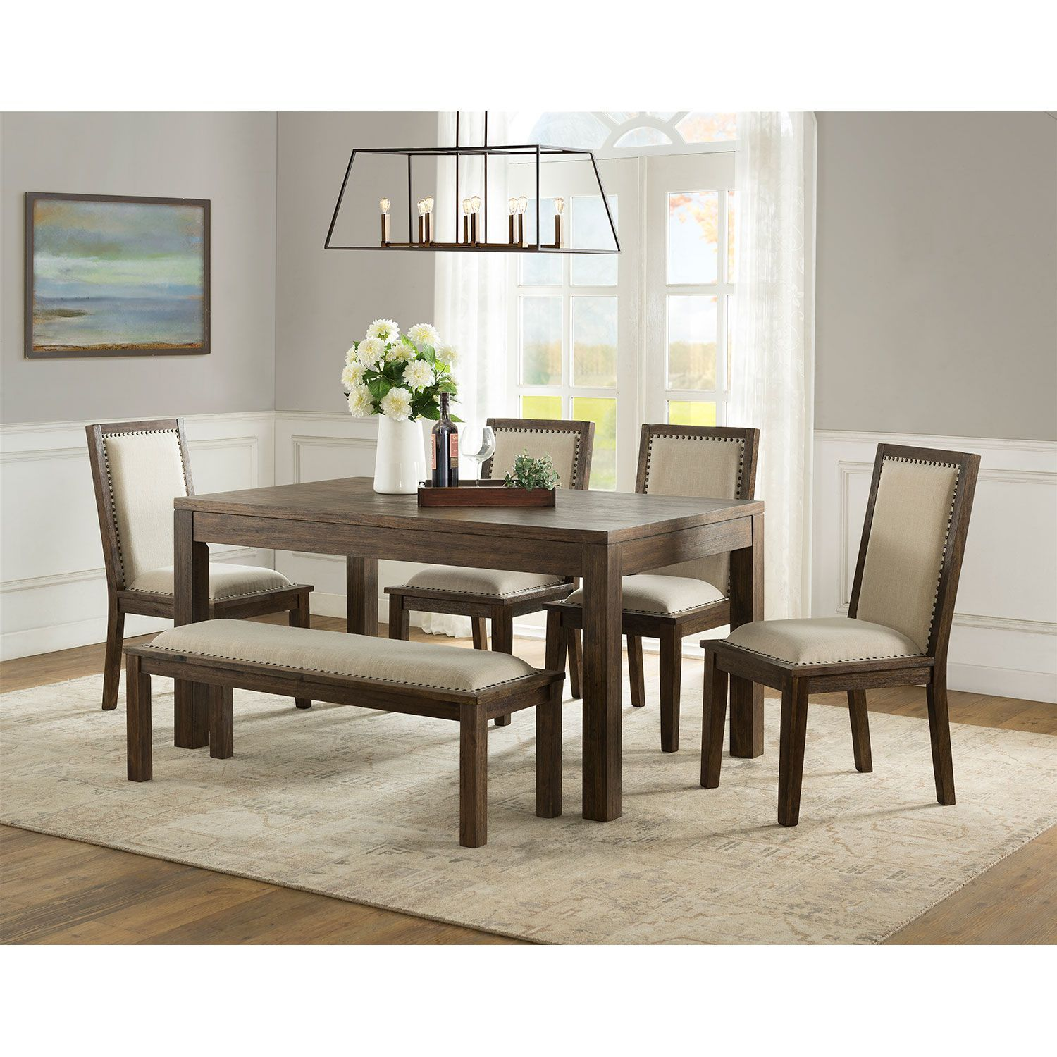 Hayden 6 Piece Dining Set With Bench Sam S Club Dining Set With Bench Furniture Dining Room Sets #sams #living #room #furniture