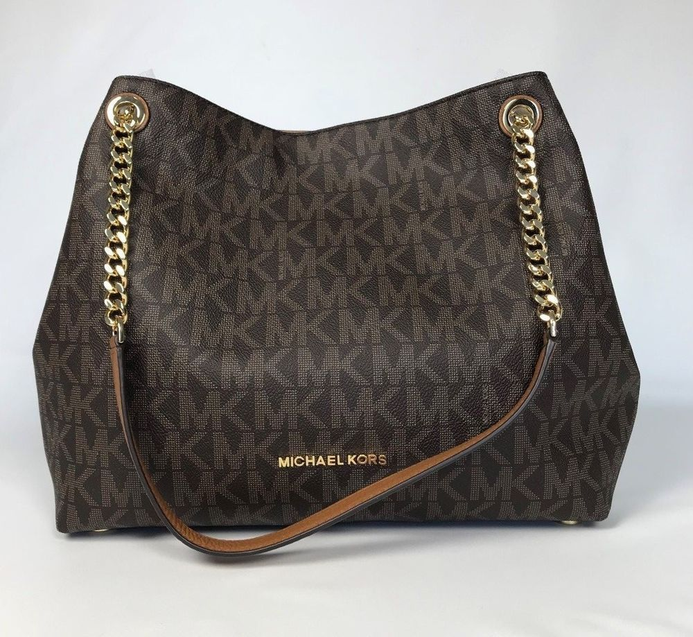 a136193953ee04 NWT MICHAEL KORS BROWN JET SET ITEM LARGE SHOULDER TOTE PVC BAG HANDBAG NEW  $378 #MichaelKors #TotesShoppersShoulderBag