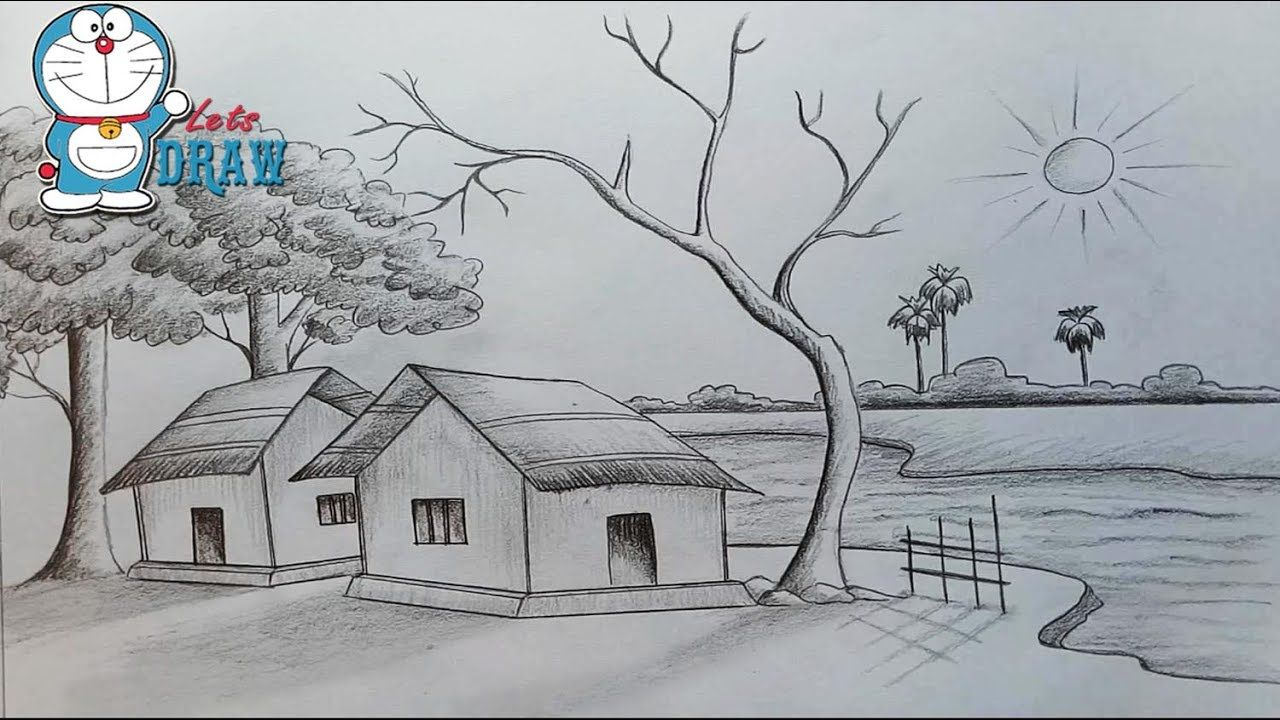 Easy Pencil Sketch Drawing Nature Simple Pictures Of Nature To Draw 1280x720 Jpeg Drawing Scenery Scenery Paintings Village Scene Drawing