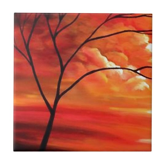 Abstract Tree & Red Sunset Tile