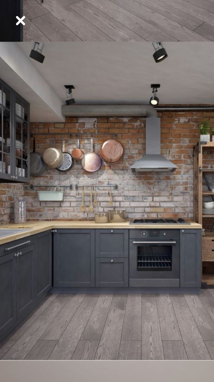 Pin By Motlagae On Die Küche Industrial Style Kitchen Industrial Kitchen Design Brick Kitchen