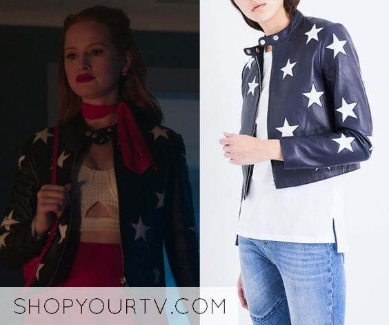 980924e63db7d5 Cheryl Blossom wears this Sandro star motif leather jacket on Riverdale 2x06