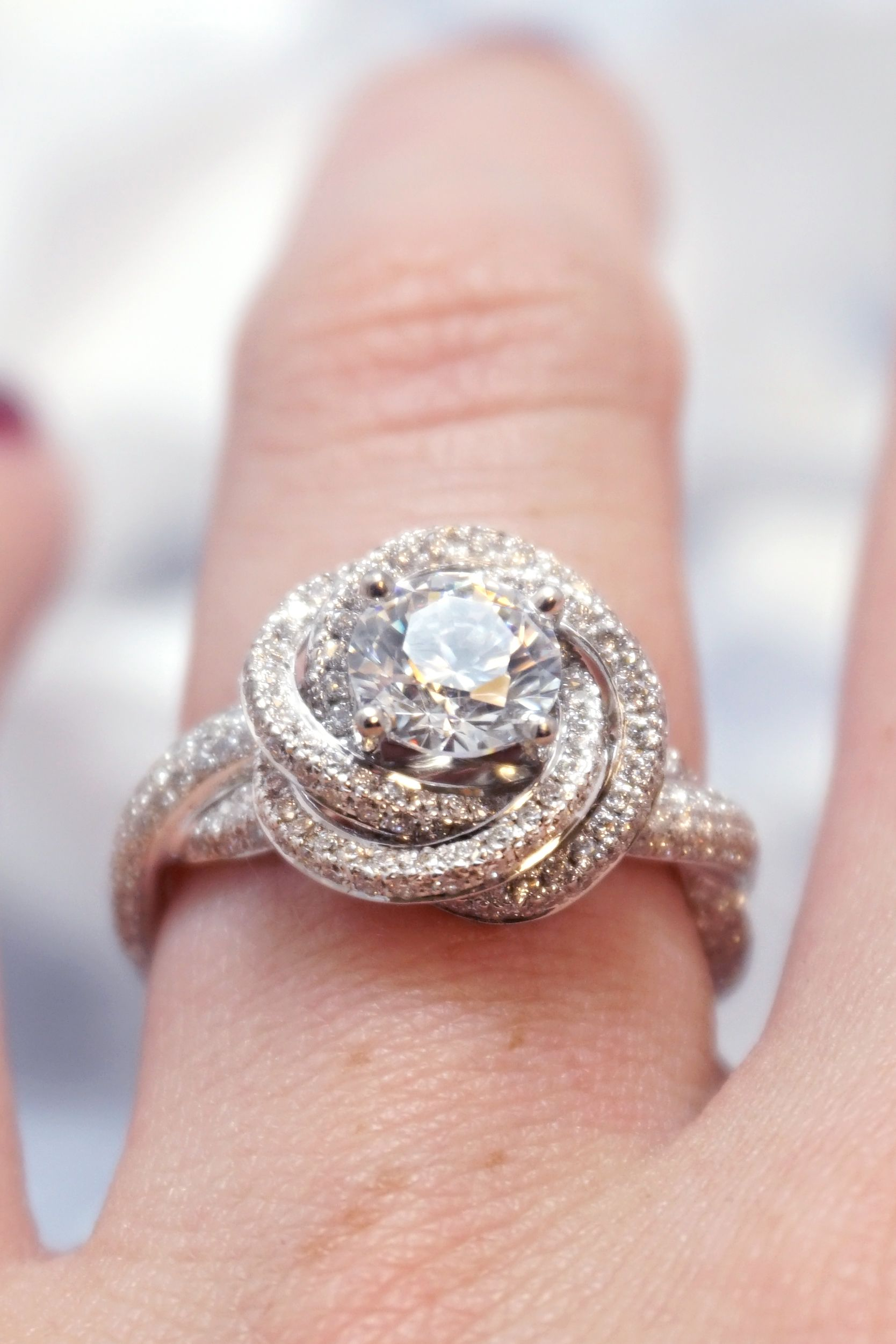 Modern Knot Edgeless Pavé Engagement Ring | Halo diamond engagement ...