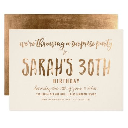 Custom Gold Shimmer Chic Surprise Birthday Party Card