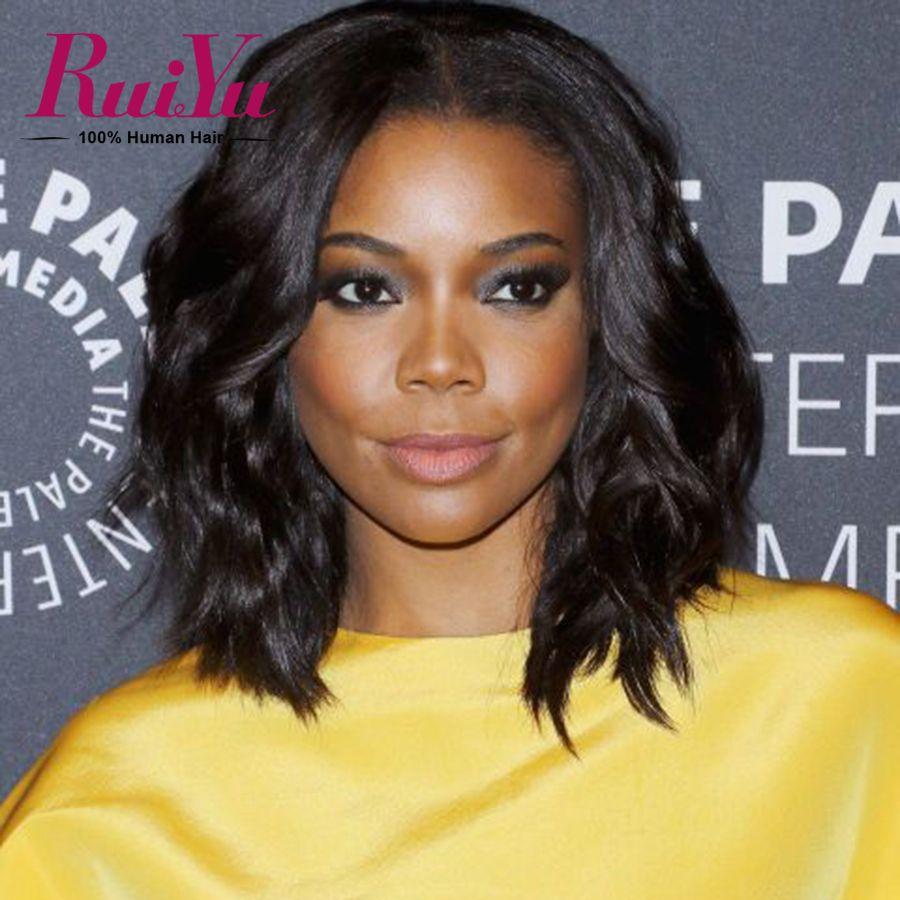 Short Full Lace Human Hair Wigs For Black Women Brazilian Wavy ...