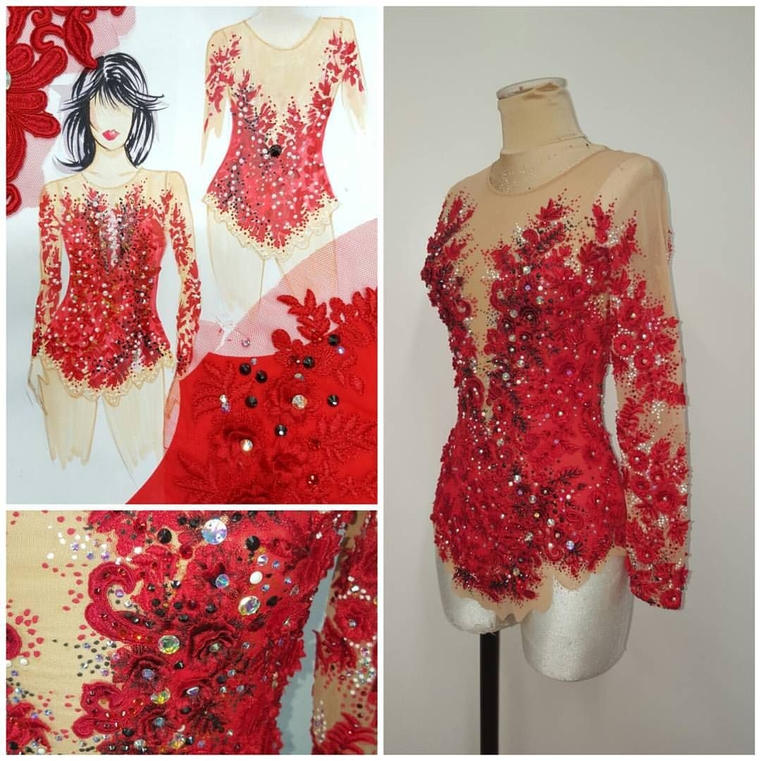 Leotard#red#lace#