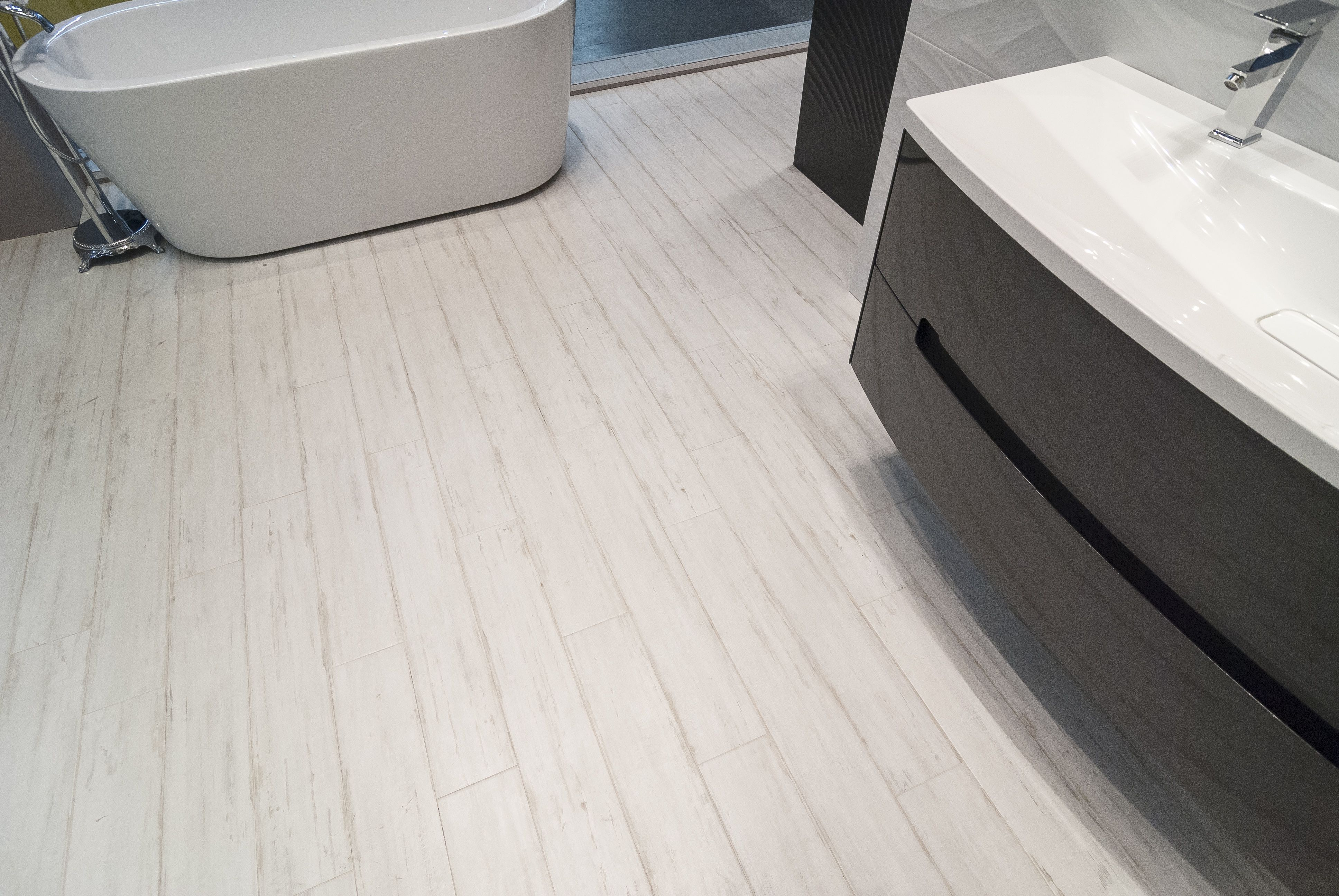 Loxley White wood effect tiles are a great way to add subtle style ...