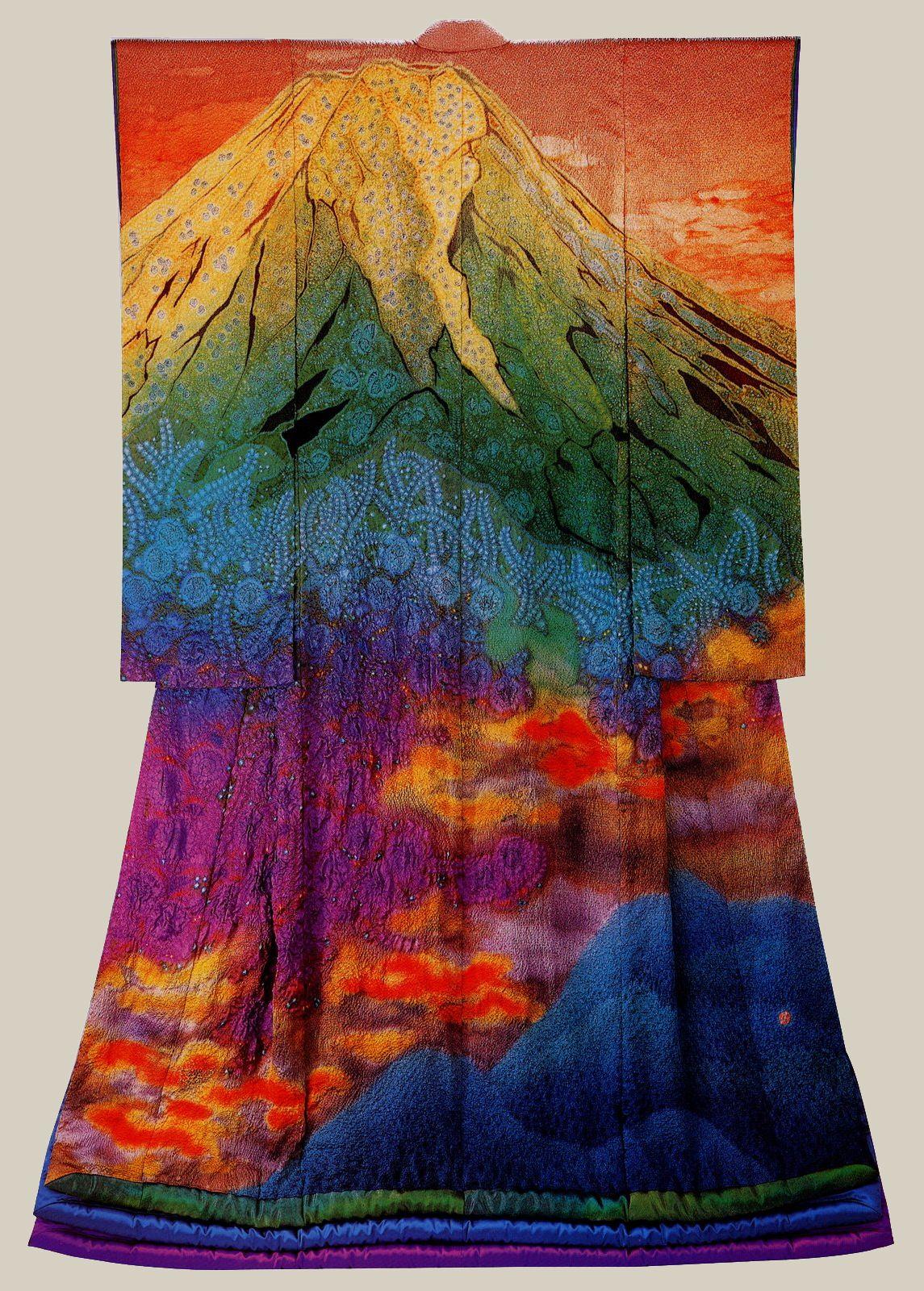 Fashion Art, Textured Kimono Painting Copper Kimono Mini Painting Mini Kimono Art Japanese Decor Sage Green Kimono Japandi Shelf Art