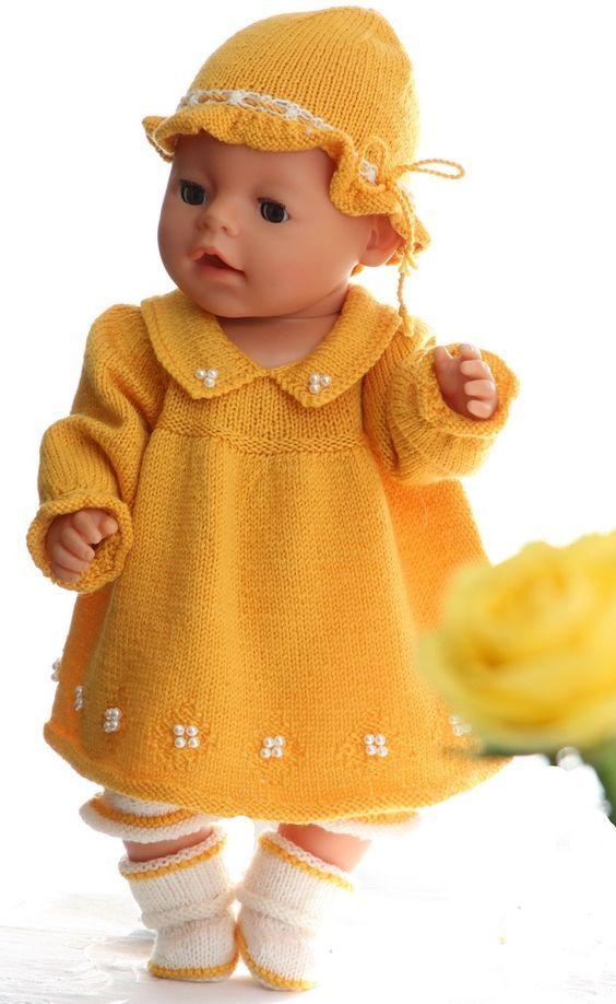 Stricken Für Ostern Hübsche Gelben Kleid Für Baby Born Stricken