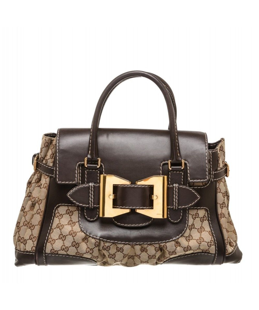 844053b6332 GUCCI Pre Owned - Gucci Beige Canvas Monogram Brown Leather Dialux Queen Bag .   gucci  bags  leather  canvas