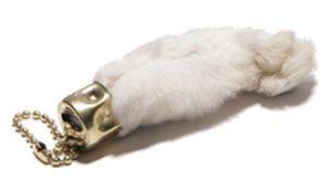 Real rabbit foot for good luck (yuk)