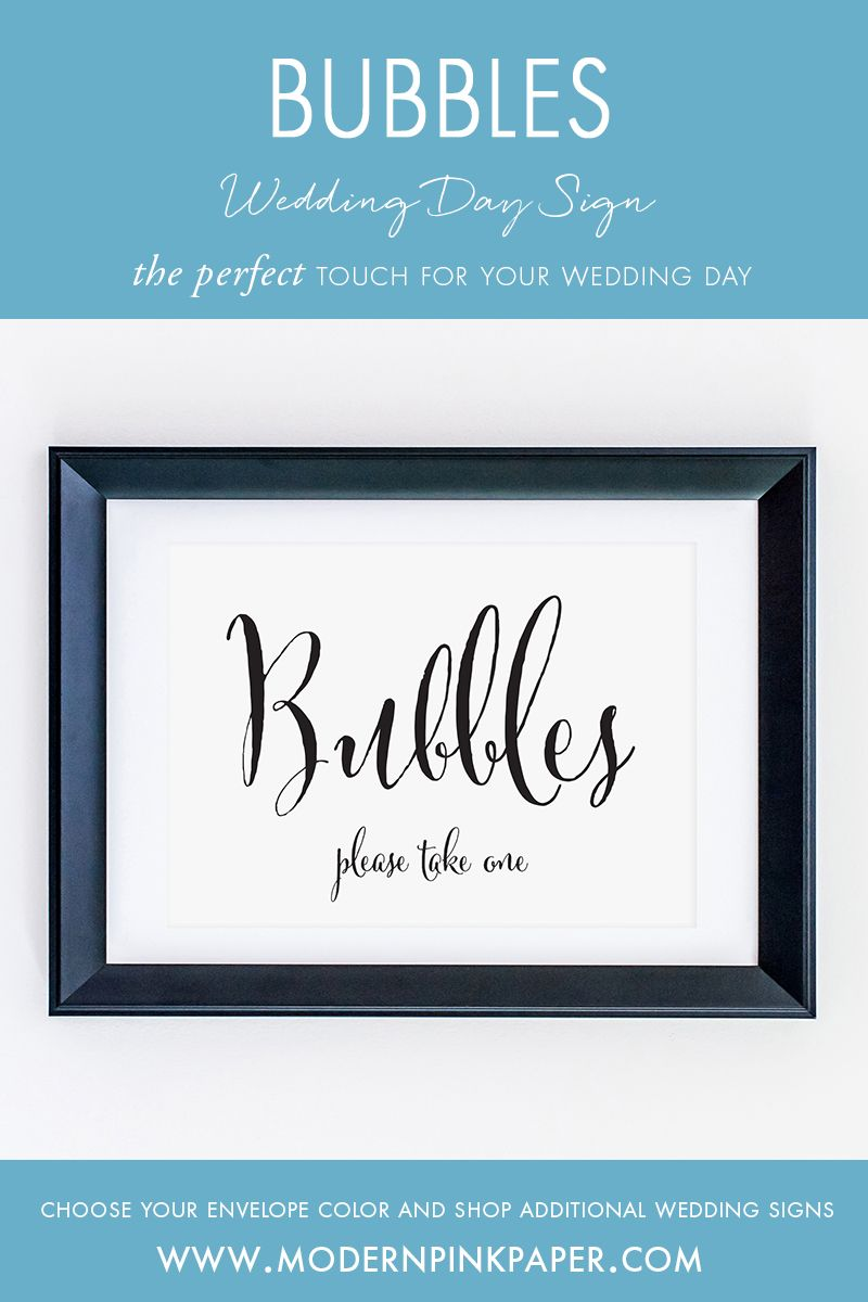 Bubbles, Please Take One Wedding Sign, WCP04y | Pink paper, Favours ...
