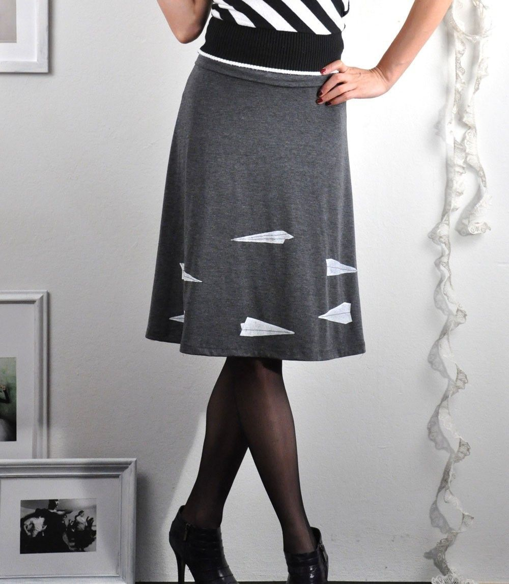 56b7bcd070cd11 Handmade Applique skirt - Grey Jersey Knee Length A-line Skirt - Paper  airplanes - size Extrea Large. $54.00, via Etsy.