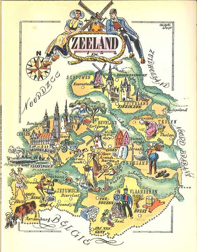 Vintage Map of Zeeland Netherlands Map Illustration Jacques