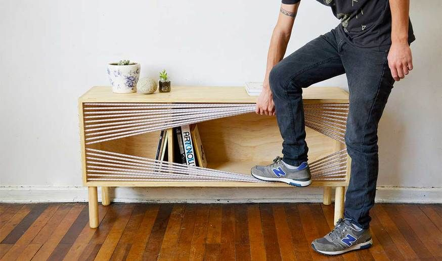 Le Buffet Design Sans Portes Mais Ferme Par Des Cordes Emmanuel Gonzalez Mobilier De Salon Buffet Design Meuble Contreplaque