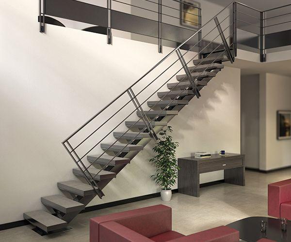 Escalier A Limon Central Pas Cher Escalier Stairkaze Escalierenkit Escalier Droit Escalier Escalier En Kit