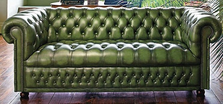 Great Green Leather Sofa
