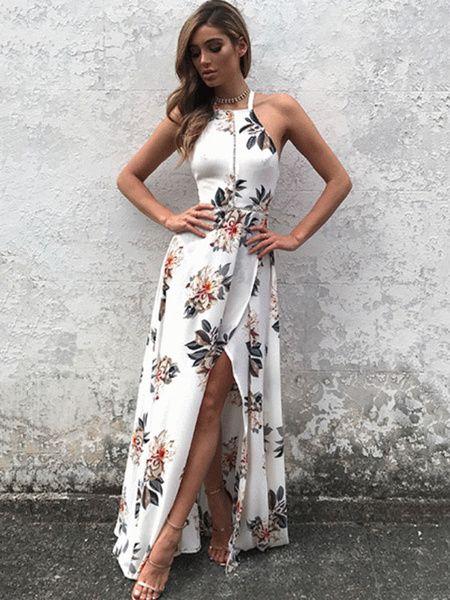 efe9cacbd53ef White Maxi Dress Halter Sleeveless Backless Floral Printed Slit Maxi Dress  For Women