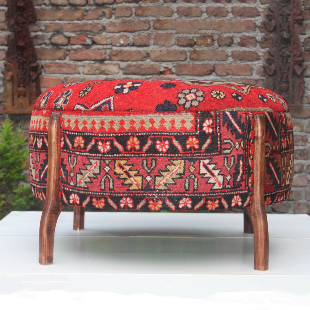 Antique Turkish Carpet Upholstered Large Round Ottoman