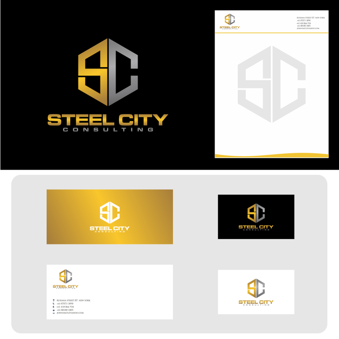 Create A Sharp Strong Logo For Steel City Consulting By 99 Smart Business Cards Creative Business Card Design Creative Professional Business Cards