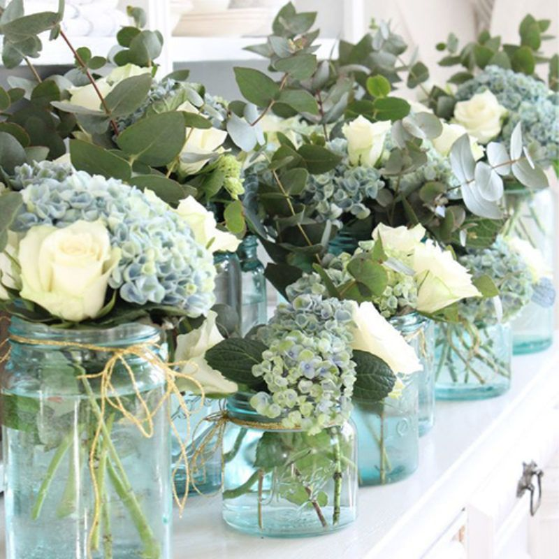 Of Blooms And Using Them In Tabletop Arrangements So We Went Looking And Found Hydrangea Arrangements Flower Arrangements Wedding Centerpieces