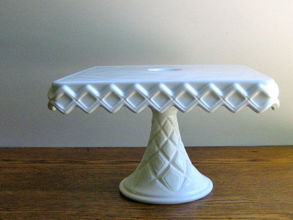 Vintage Indiana Milk Glass Square Cake Stand In 2018 Indiana Milk