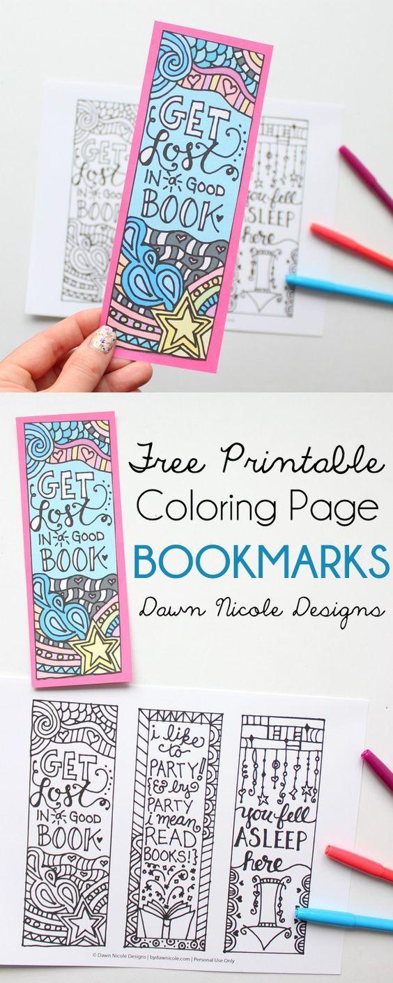 Free Printable Coloring Page Bookmarks   Pinterest   Propios, Libros ...