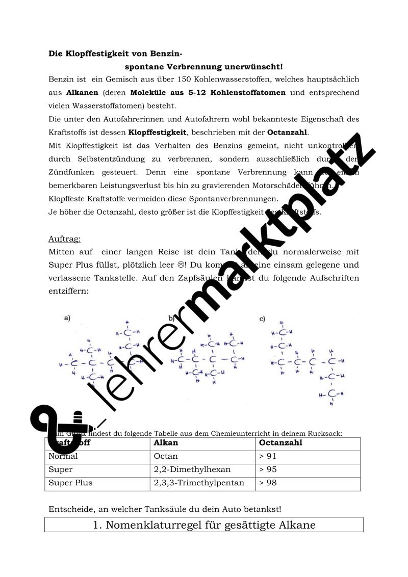Arbeitsblätter zum selbstständigen Erarbeiten der Nomenklatur der ...