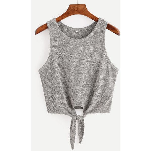 bdf67c59f724c SheIn(sheinside) Grey Tie Casual Tank Top ( 8.99) ❤ liked on Polyvore  featuring tops