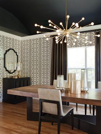 I LOVE The Dark Ceiling Glamorous Dining Room By Lizette Marie Interior Design Beautiful Created Black Graphic Wallpaper And Rustic Table