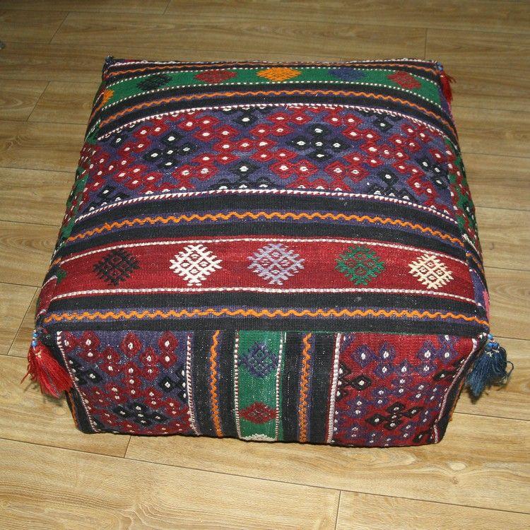 Large Ottoman Pouf Turkish Kilim Rug Floor Pillow Throw Big Kelim ...