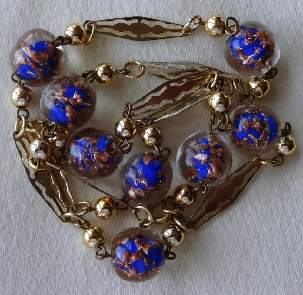 Vintage Blue & Gold Foil Glass Bead Necklace