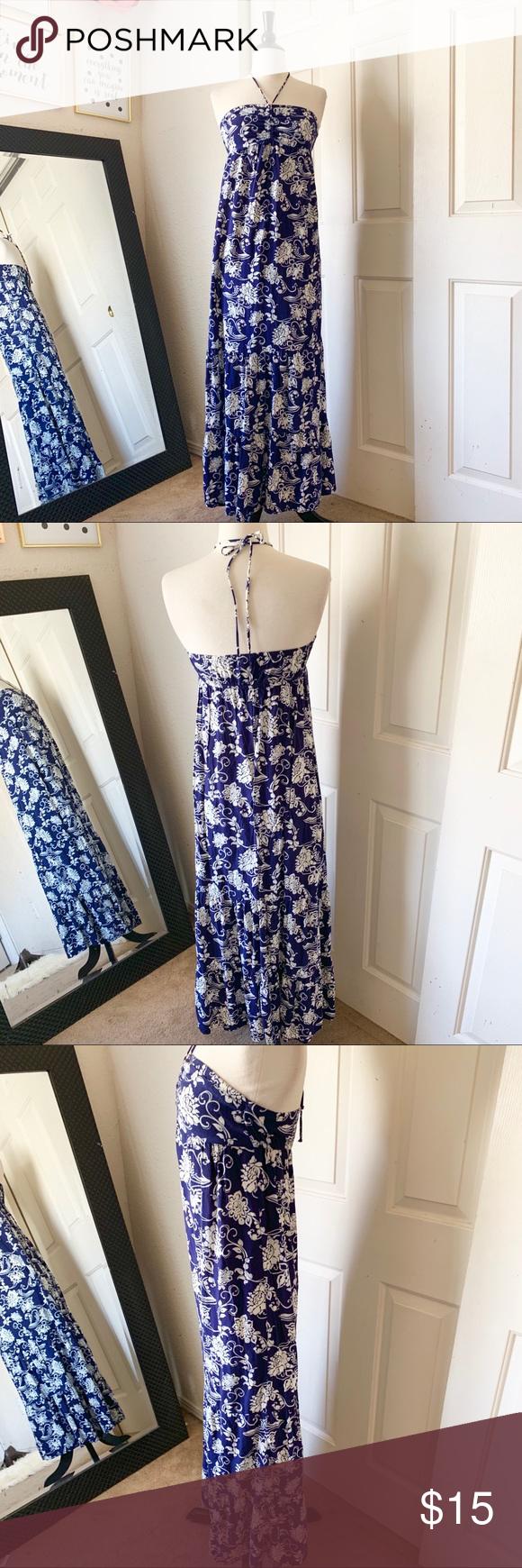 cb7dd0f5d2e Mossimo Blue Print Strapless Maxi Dress Small Preowned Mossimo Blue Print  Strapless Maxi Dress Small Mossimo Supply Co. Dresses Maxi
