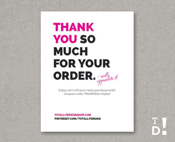 Business thank you cards instant download brightly bold shopping thank you for your order card instant download by totallydesign 1000 business thank you cards fbccfo Images