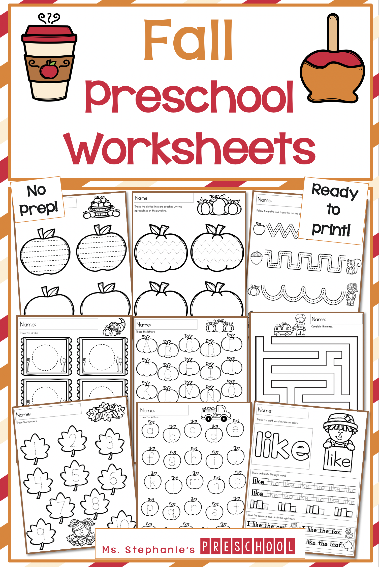 These Fun No Prep Fall Preschool Worksheets Are Ready To