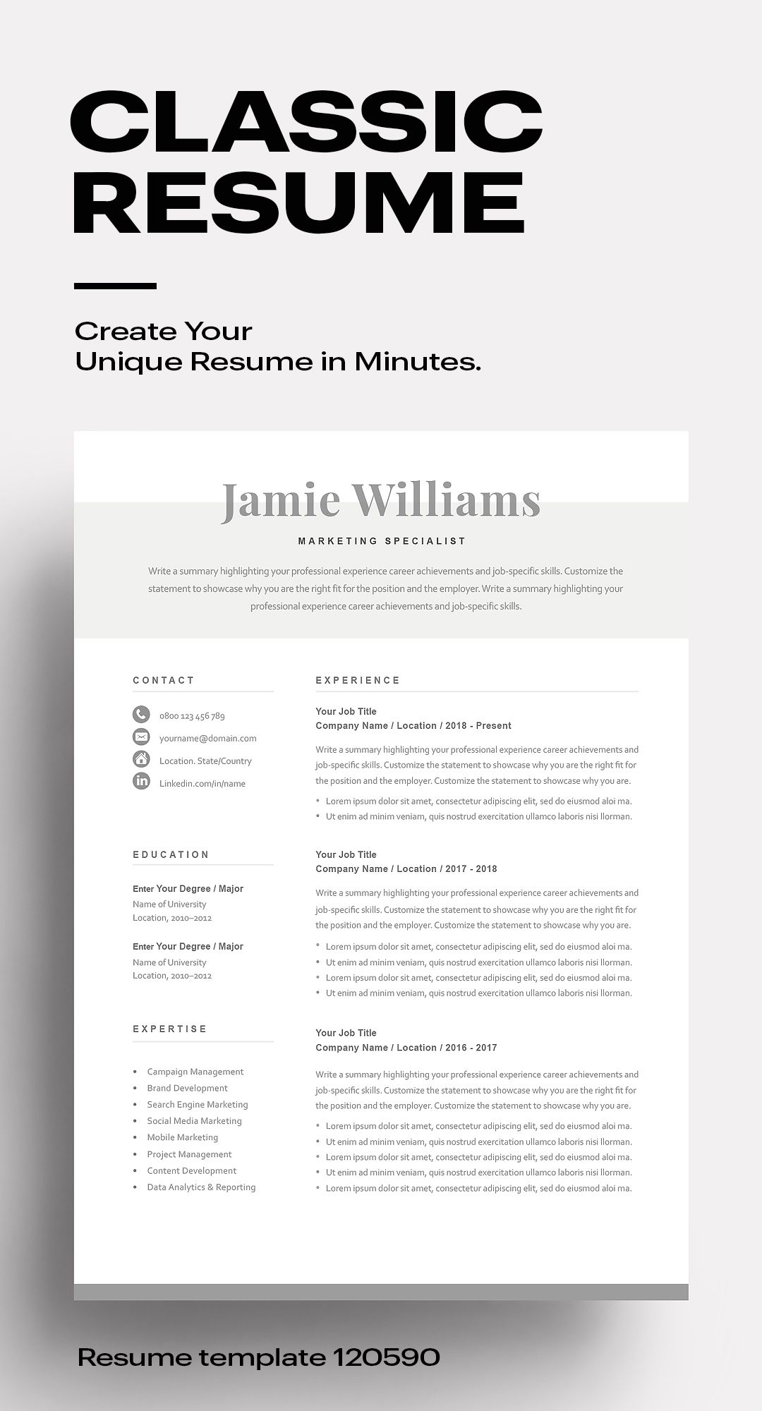 Classic Resume Template 120590 (grey) in 2020 Resume