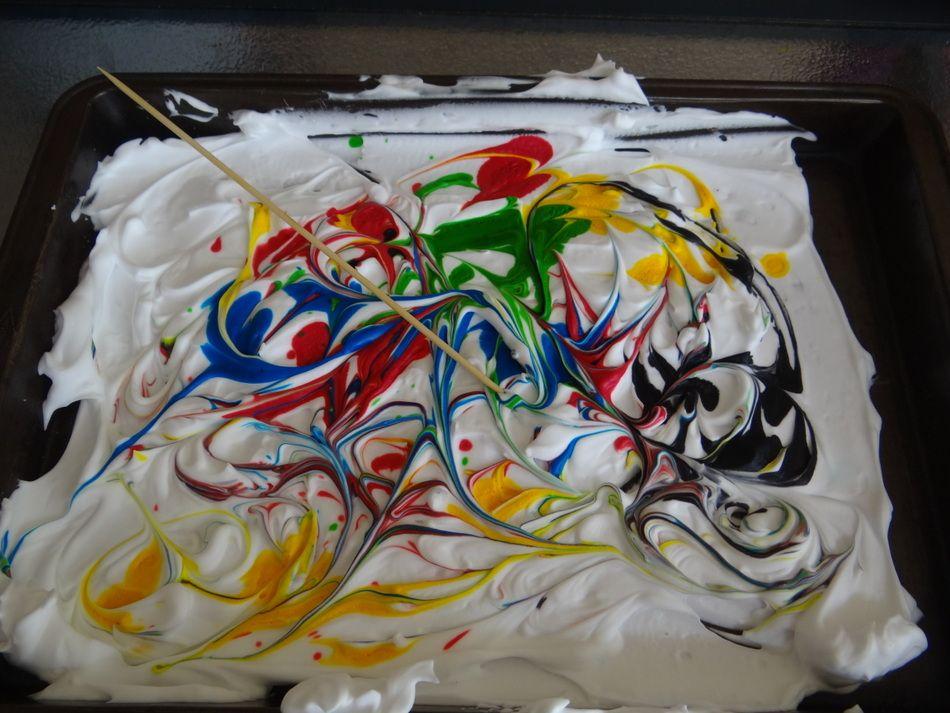 Fun for kids - shaving cream marbling - swirl the paint around the shaving cream