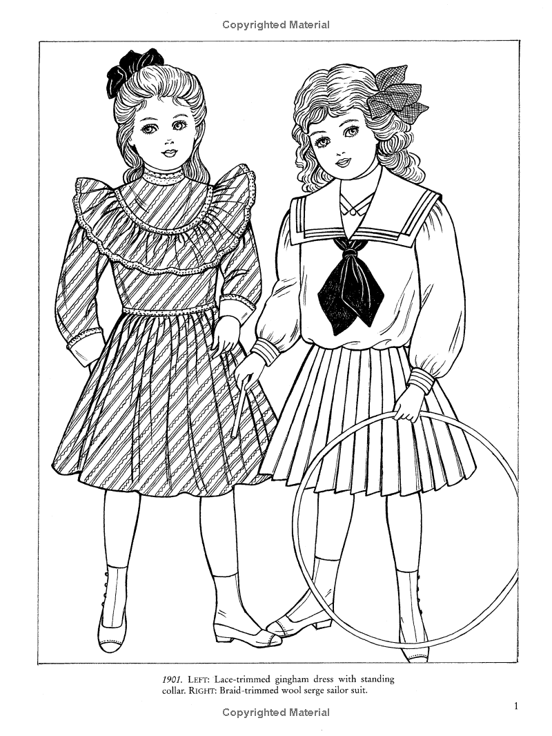 Old-Time Children's Fashions Coloring Book (Dover Fashion