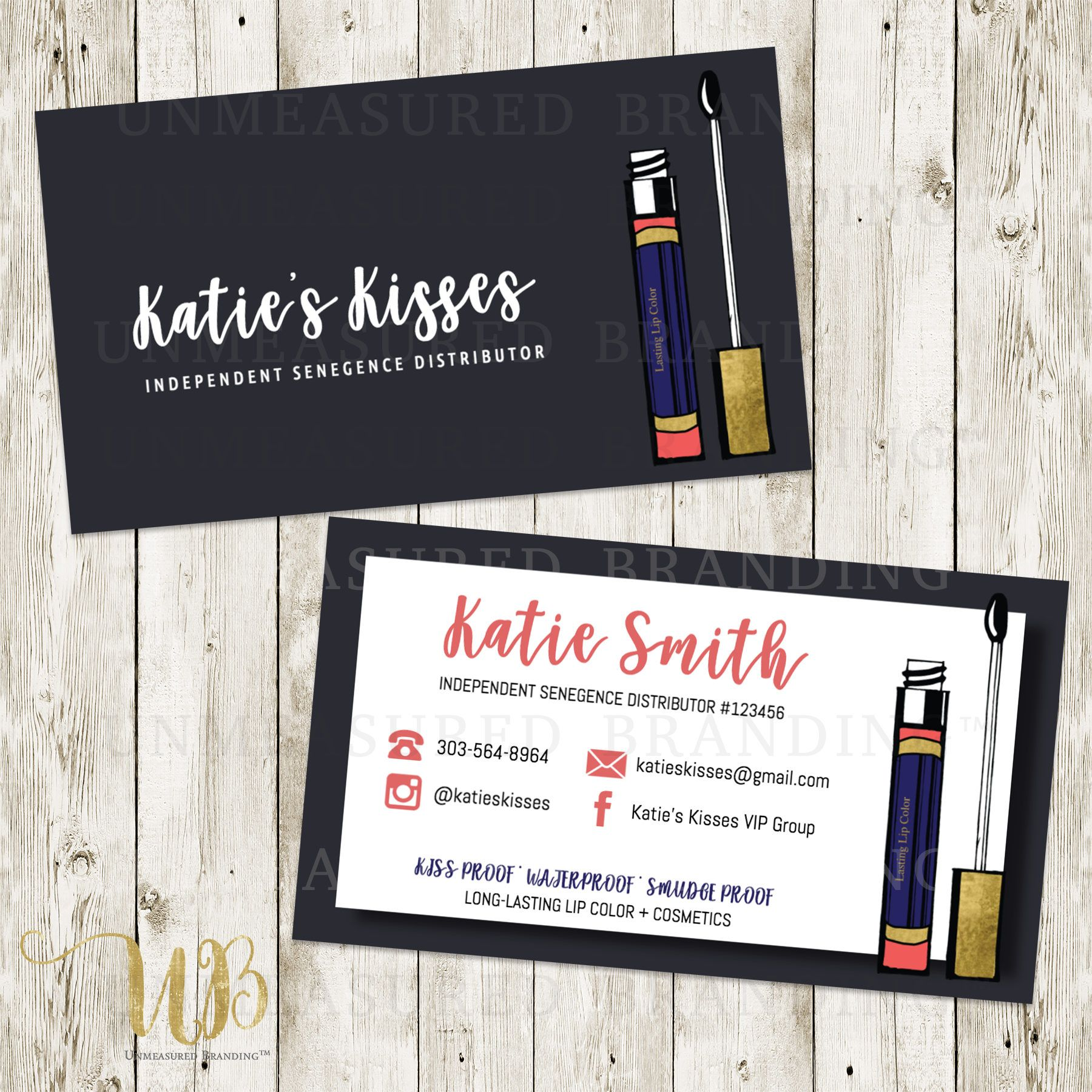 Lipsense Business Cards Senegence Business Cards Gold Business