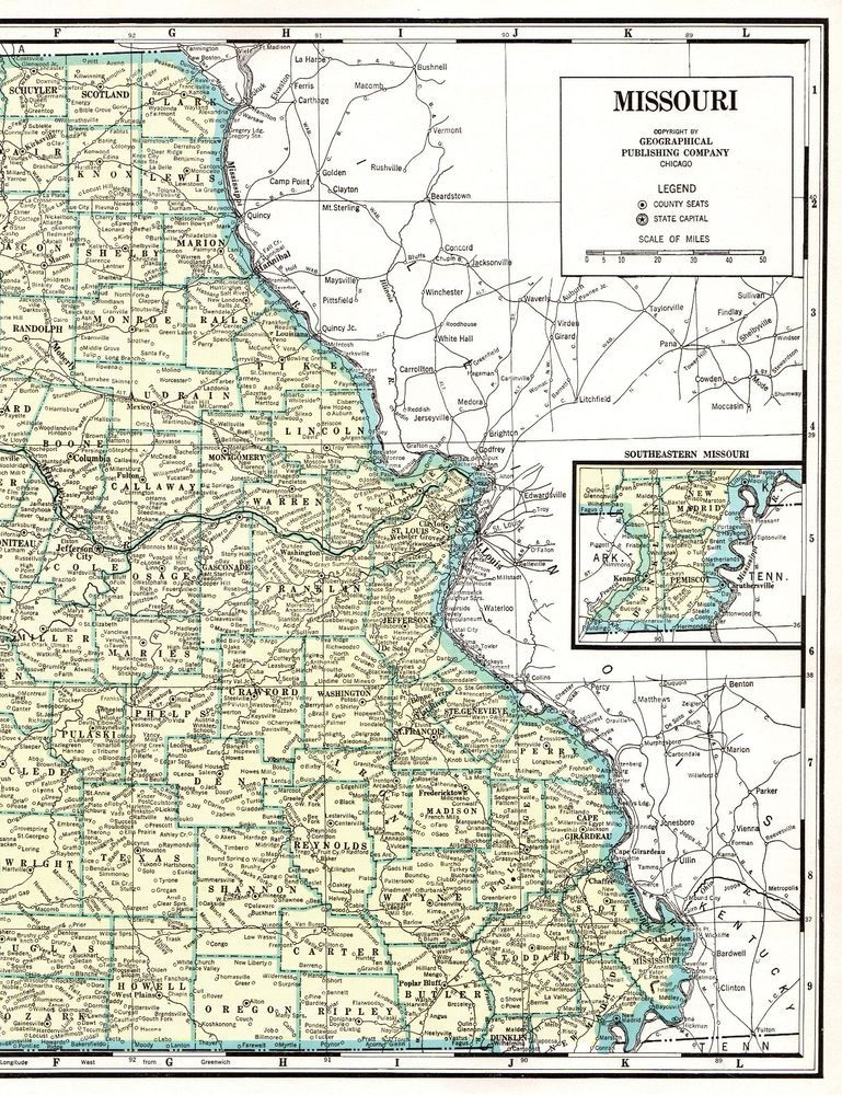 1947 Antique Missouri State Map Poster Print Size Vintage Map Of - Us-map-with-missouri