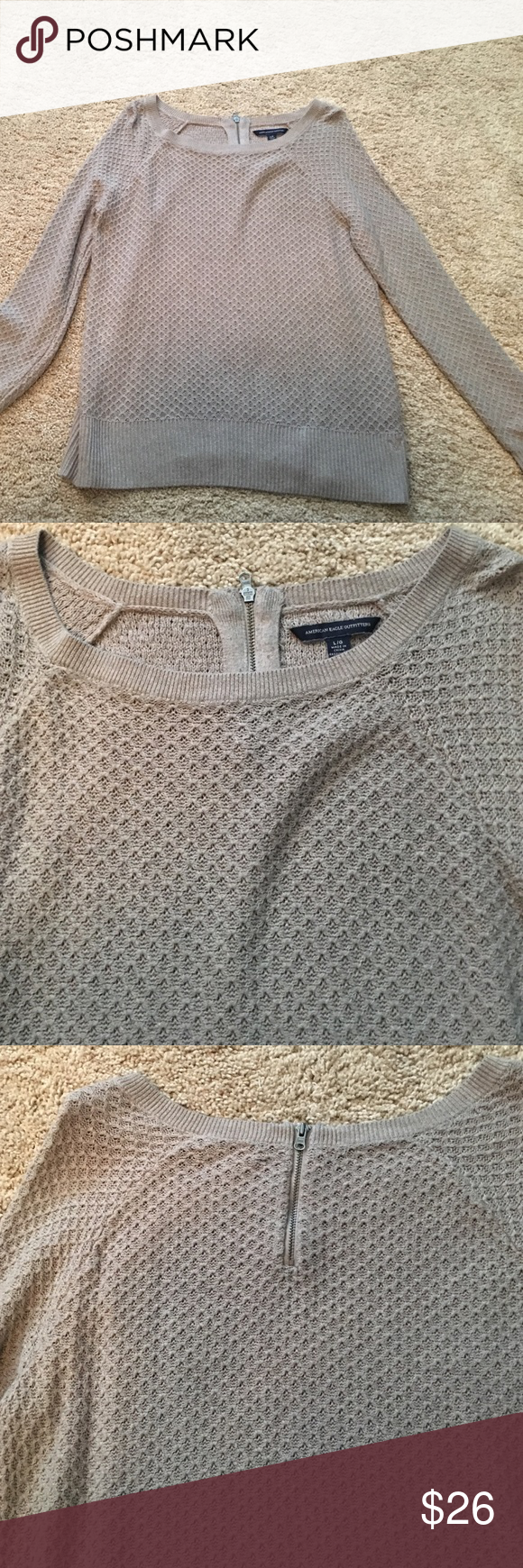 Taupe Textured Sweater Taupe/gray colored sweater. Excellent condition! Zipper detail in back. American Eagle Outfitters Sweaters Crew & Scoop Necks