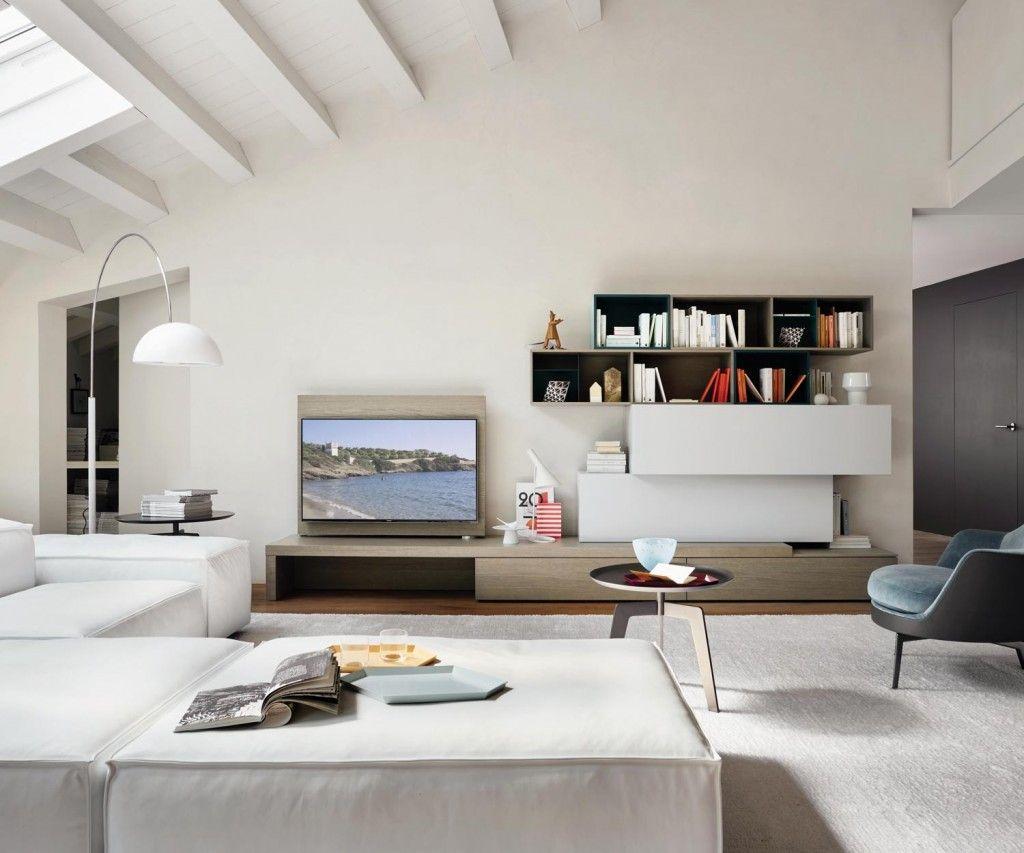 Moderne Livitalia Wohnwand C44 Mit Integriertem Aufklappbaren Schreibtisch  Und TV Paneel Zum Schwenken. #Wohnwand