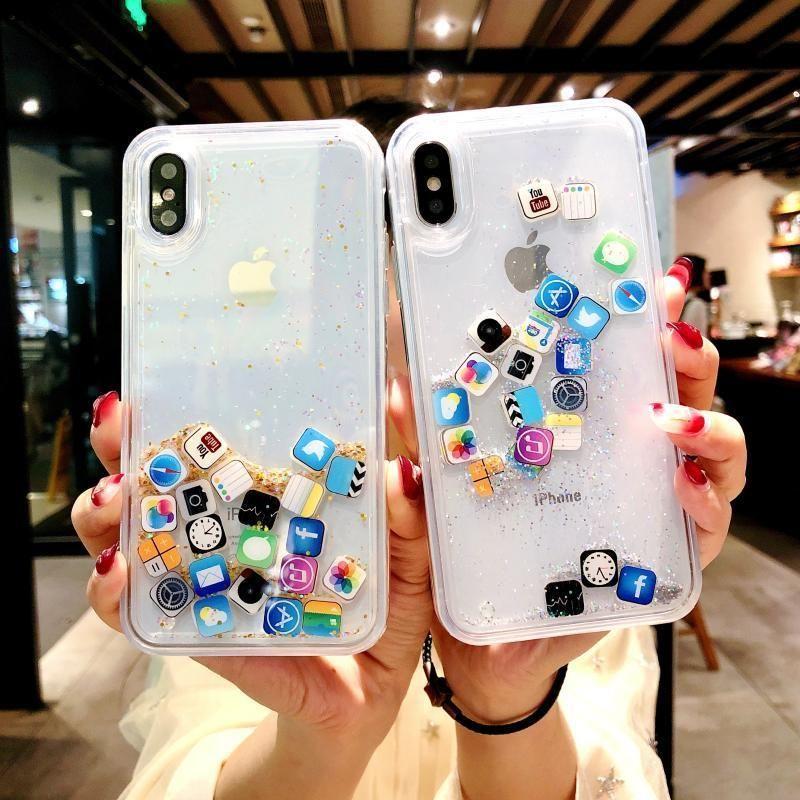 For Iphone 7 7plus 8 8plus 6 6s 6plus Dynamic Liquid Hard Pc Case Cover For Iphone 7 7plus X Clear C Iphone Transparent Case Bff Phone Cases Iphone Phone Cases