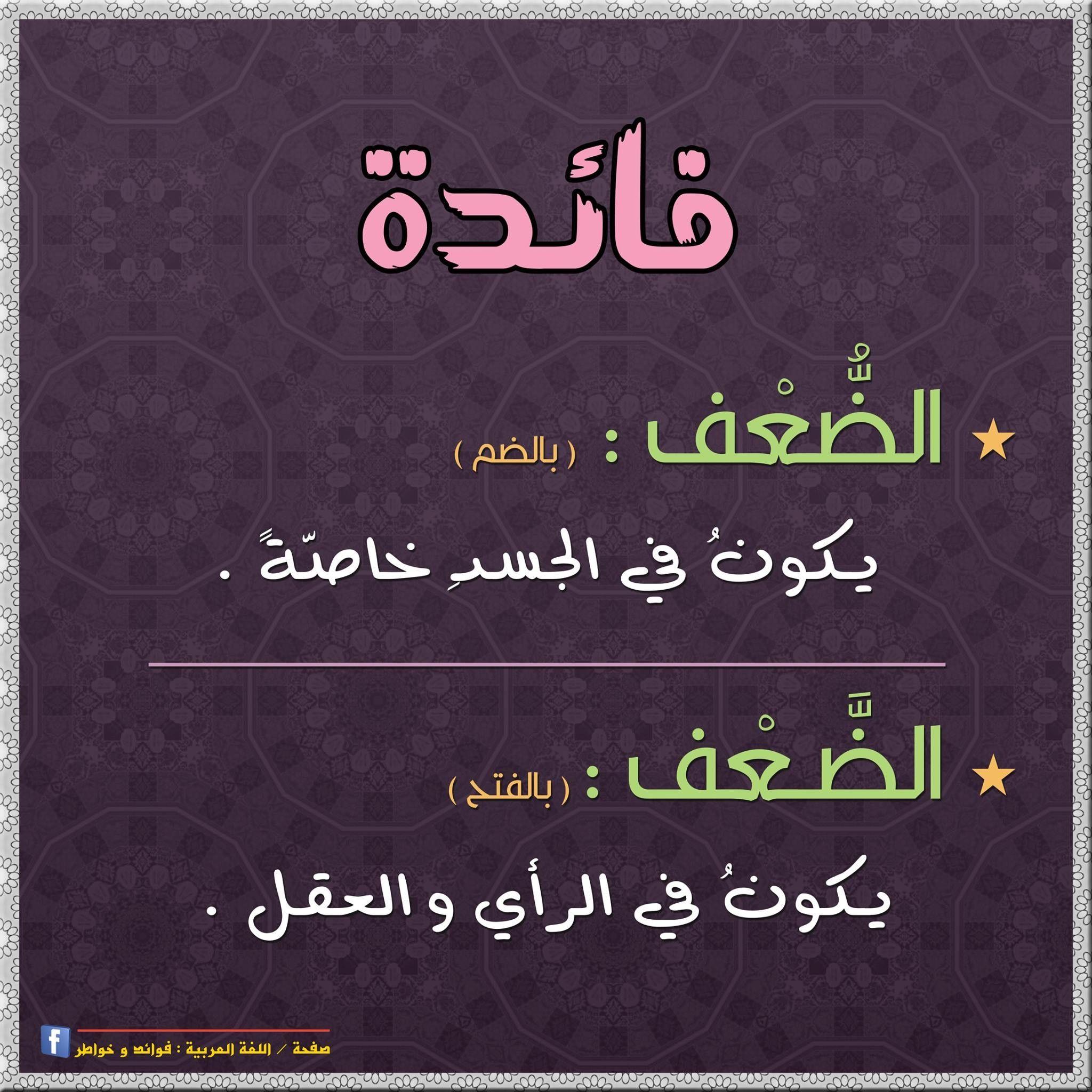 الض عف الض عف Language Quotes Beautiful Arabic Words Cool Words