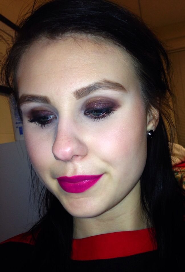 Burgundy smokey eye with bright pink lips. Lips are TooFaced melted jelly doughnut