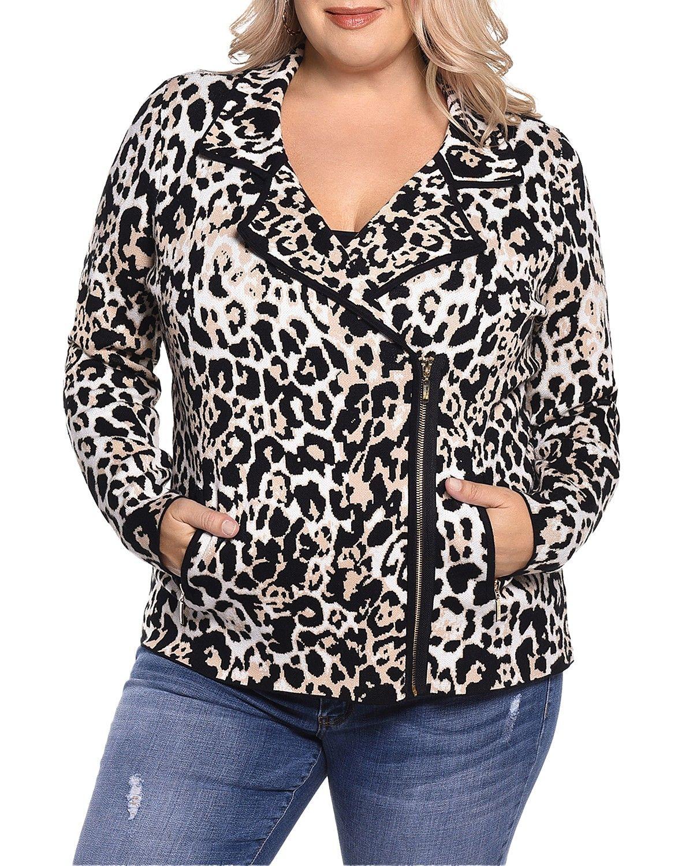 351f0c3fc032 Plus Size Leopard Moto Jacket | Fashion | Moto jacket, Jackets, Knit ...