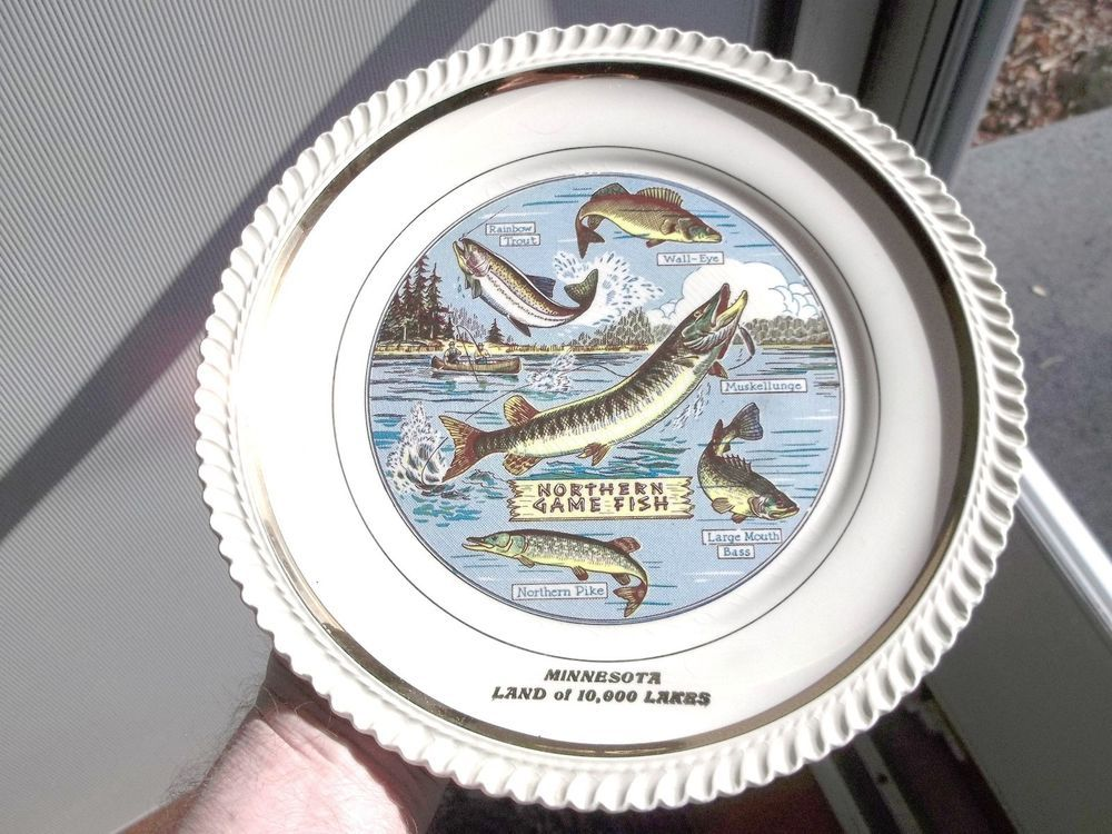 1952 Northern Game Fish Minnesota Soil Conservation Days Collector Plate Mn Vintage Fishing Fishing Equipment Soil Conservation