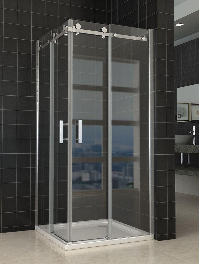 Semi Frameless Square Sliding Door shower screen NO base 8mm Glass ...